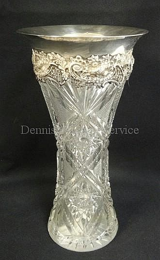 DEEP BRILLIANT CUT GLASS VASE W/STERLING SILVER