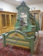PAINT DECORATED VICTORIAN 3 PC COTTAGE BEDROOM SUITE; DROP CENTER DRESSER W/MIRROR, FULL SIZE BED W/RAILS (HEIGHT ALTERED, CLIPS ON A RAIL MISSING) & ONE DRW TABLE