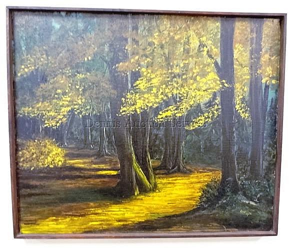 FRAMED O/C FOREST LANDSCAPE BY JOAN AUDI, TITLED