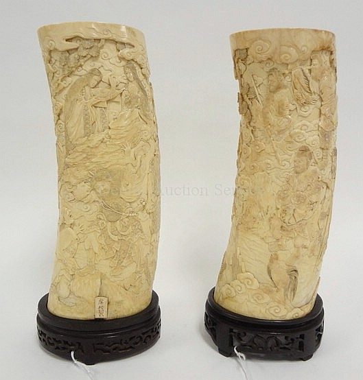 PAIR OF JAPANESE CARVED IVORY TUSKS; WELL CARVED &