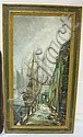 FRAMED OIL ON MASONITE DOCK SCENE W/BOATS &