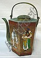 CHARACTER SIGNED HEXAGONAL BRASS TEAPOT W/PEOPLE