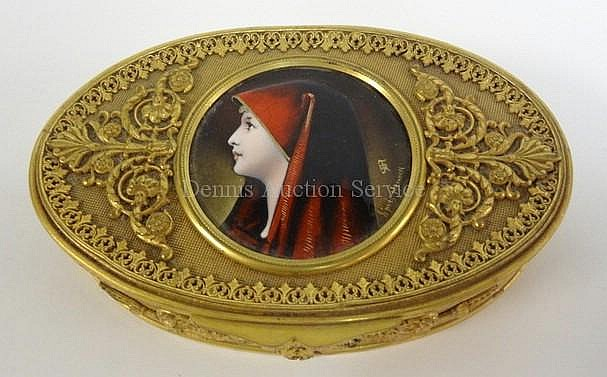 BRONZE OVAL DRESSER BOX W/INSET ENAMELLED PORTRAIT