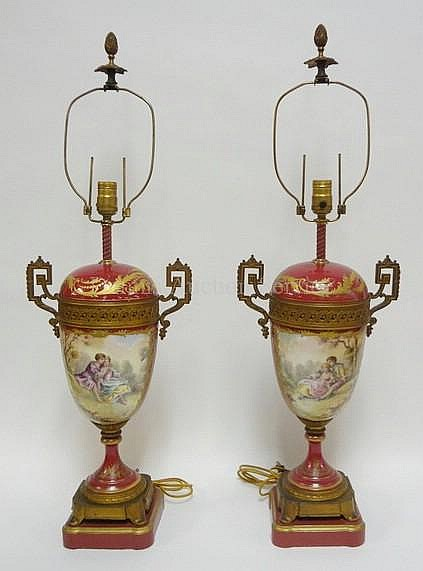 PR OF SEVRES BRONZE MOUNTED HAND PAINTED LAMPS;