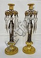 PAIR OF BRONZE FIGURAL CANDLESTICKS, LADY; W/CUT PRISMS