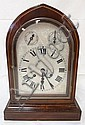 DOME TOP CLOCK, SIGNED & NUMBERED ON BRASS WORKS; CHIMES; INLAID MAHOGANY CASE; 15 3/4 IN H, 11 1/4 IN W