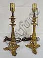 PR OF BRONZE CANDLESTICK LAMPS