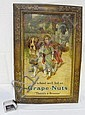 TIN LITHO GRAPE NUTS ADVERTISING SIGN W/LITTLE RED RIDING HOOD & ST. BERNARD; 20 1/4 IN X 30 1/4 IN