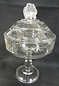 EAPG LARGE ENGRAVED COVERED COMPOTE W/DOUBLE OWL