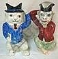 2 FIGURAL PITCHERS, MONKEY & CAT; PORCELANA DE