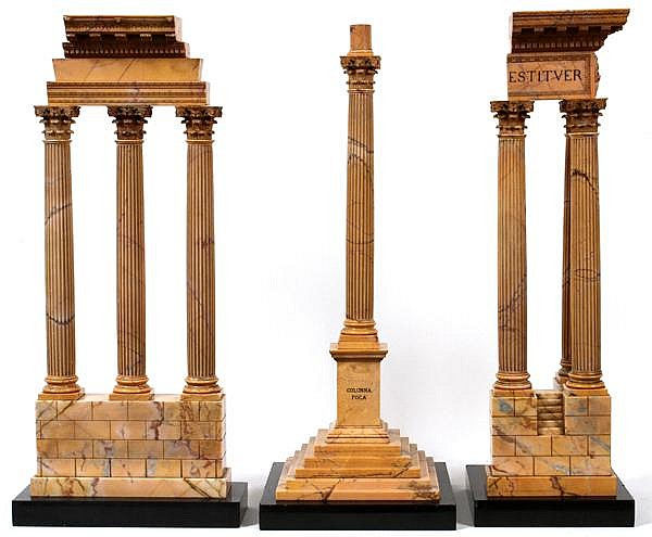 ITALIAN GRAND TOUR MODEL RUINS, 19TH C., SET OF THREE PIECES, H 25