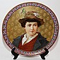 BARLUET & CIE., FRENCH CERAMIC PORTRAIT CHARGER, MONTEREAU, LATE 19TH C., DIA 19 1/2