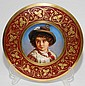 P. J ULRICH, VIENNA PORCELAIN PORTRAIT CHARGER, C. 1900, DIA 13 1/2