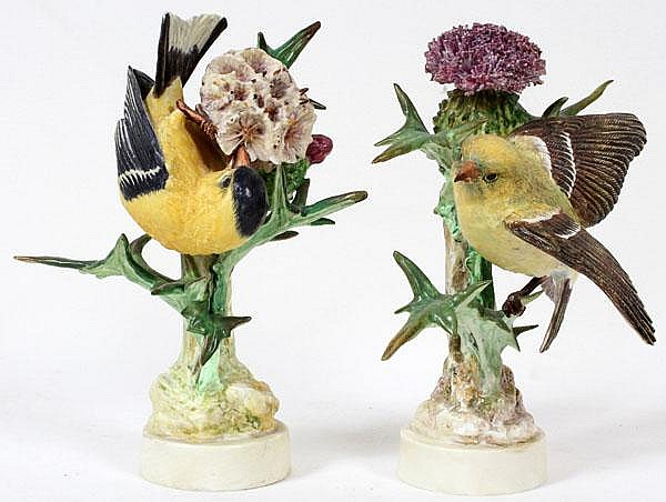 DOROTHY DOUGHTY FOR ROYAL WORCESTER, PORCELAIN GOLD FINCH FIGURES, PAIR, H 7 1/2