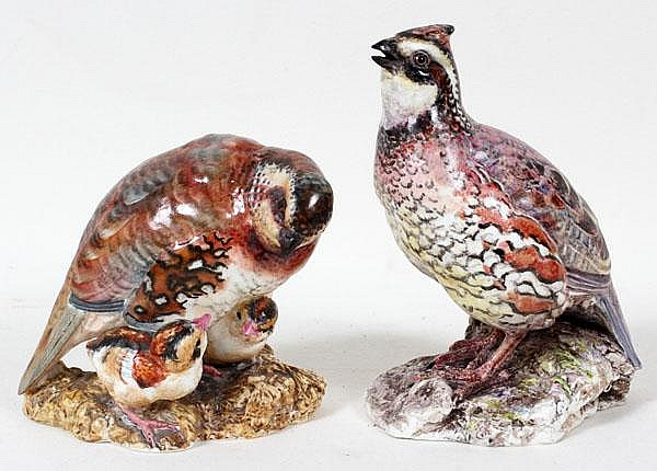 DOROTHY DOUGHTY FOR ROYAL WORCESTER, PORCELAIN BOBWHITE QUAILS, TWO, H 5
