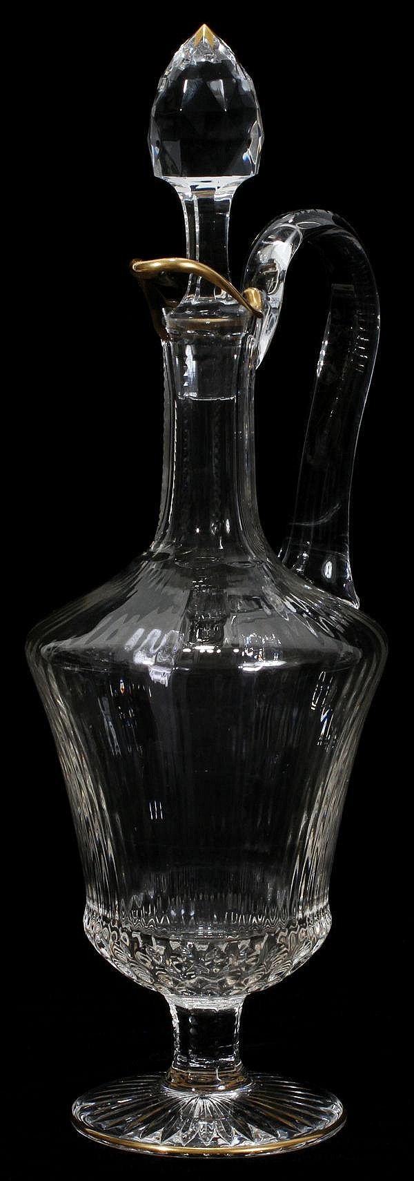 ST. LOUIS CUT CRYSTAL WINE DECANTER, H 15