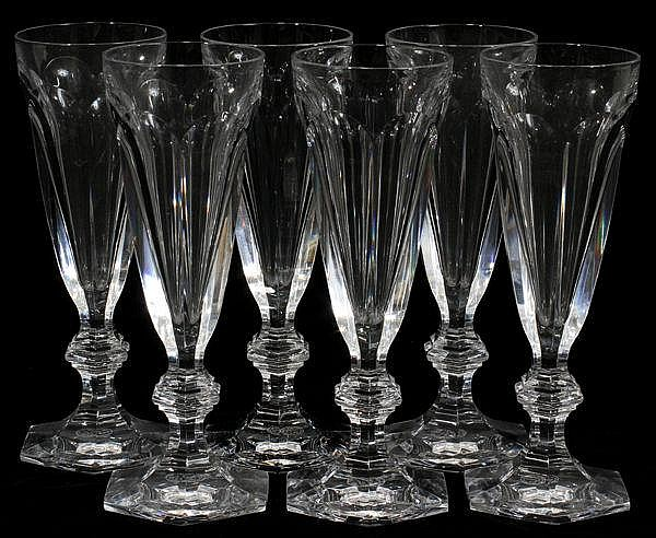 BACCARAT 'HARCOURT' CUT CRYSTAL CHAMPAGNE GLASSES,