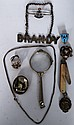 A silver medal, pinz nez glasses, brooches, brandy