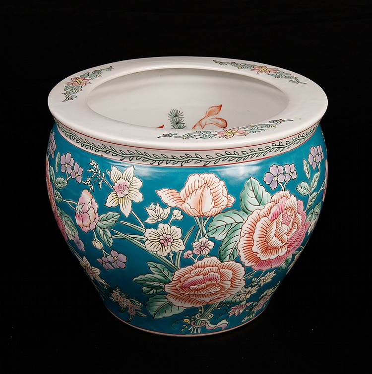 Chinese Porcelain Fish Bowl Planter