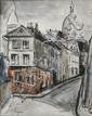 Takanori OGUISS (1901-1986) Rue de Norvins  Montmartre Aquarelle sur papier sign en bas  gauche 34 x 25 cm