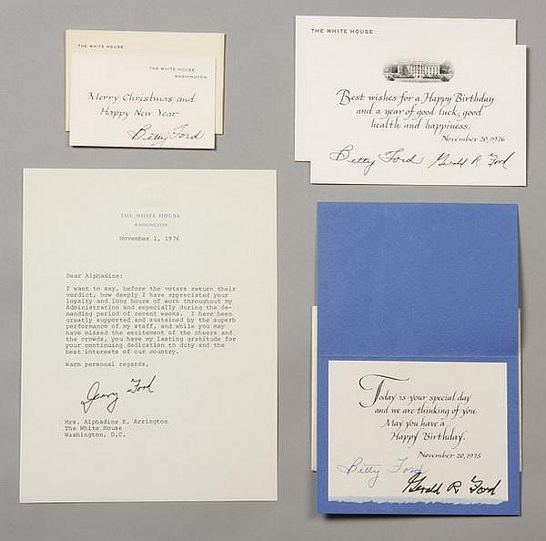 President and Mrs. Ford notes & cards, signed