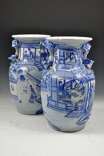 Pair of chinese blue and white vases, baluster