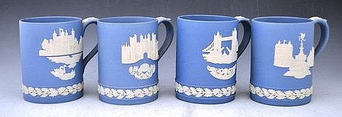 Collection of fifteen Wedgwood blue jasperware