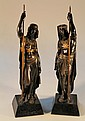 A pair of French bronze figures after Emile Louis
