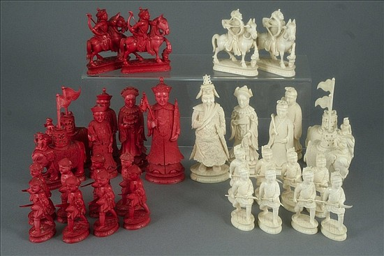 A good mid 19th century Canton carved and stained ivory chess set, King approx 5.5ins