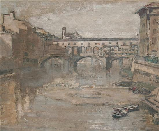 Vera Waddington (1886-) Ponte Vecchio, 10.5 x 13.75in.
