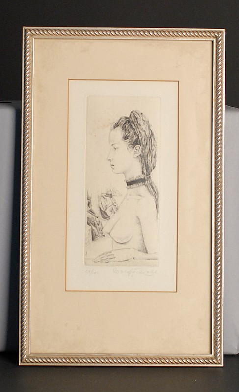 Wolfgang Rabl, b. 1942, Austria, Profile of a Young Nude, an engraving on paper,