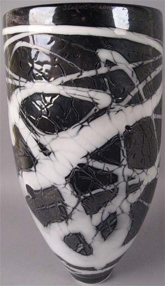 J. Calcass Blown Glass Vase