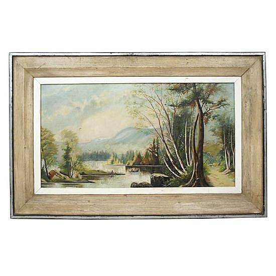 An American Victorian Oil on Canvas Landscape Painting, Height 28 1/2 x width 44 1/4 x depth 1 inches.