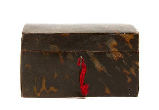 A Regency Tortoise Shell Veneered Box, Height 4 1/4 x width 7 x depth 5 inches.