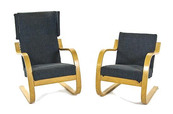 Two Modern Associated Armchairs, Alvar Aalto, Height of taller 39 inches.
