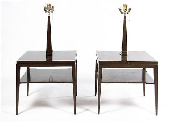 A Pair of Rosewood Lamp Tables, Height overall 57 x width 27 x depth 27 inches.