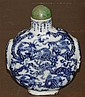 * A Porcelain Blue and White Snuff Bottle, Height of bottle 3 7/8 inches.