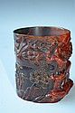 Carved Horn Brush Pot with Carved Trees in relief