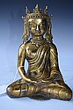 Chinese Bronze Model of A Seated Buddha with Crown