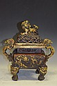 Chinese Square Bronze Censor with Foo Dog