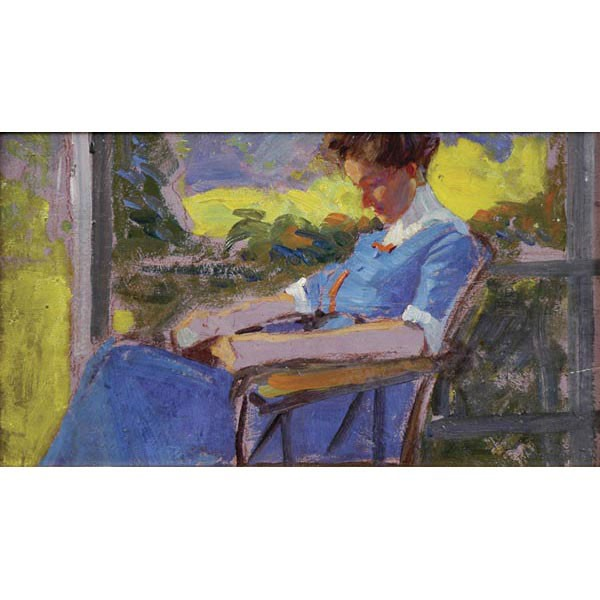 George Gustav Adomeit, Cleveland, 1879-1967, Woman seated on porch, oil on board, 8
