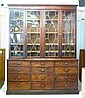 A George III Mahogany Boxwood Lined Bookcase, the