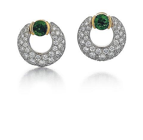 Tiffany & Co., Platinum, 18kt Yellow Gold, Emerald and Diamond Lady's Earrings, Pair