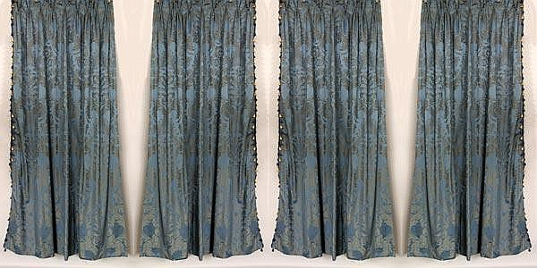 2 Pairs of Blue Damask Fortuny Style Drapes