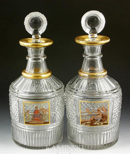 Pair of Enameled Presentation Decanters