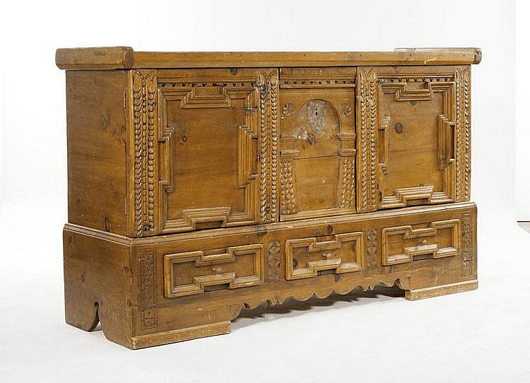 A CHEST, Renaissance style, Alpine region. Carved
