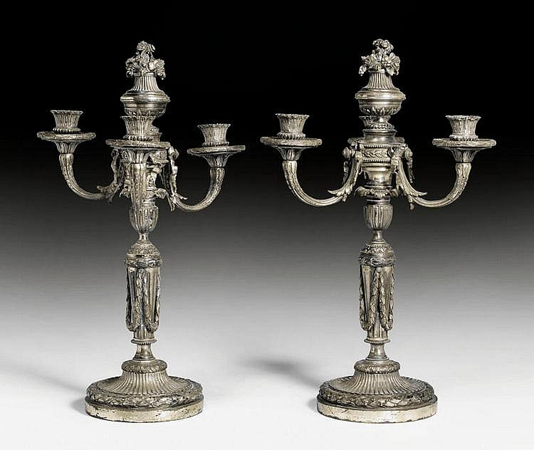 PAIR OF CANDELABRA, Louis XVI, France, 18th/19th