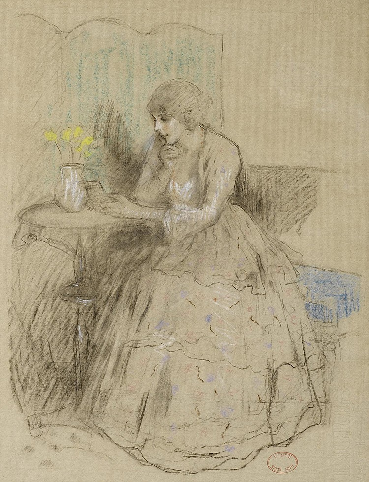 ABLETT, WILLIAM. (1877 - 1937). Woman reading at a