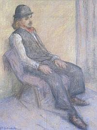 PHILIP WHICHELO Seated figure. Pastel. Signed. 47