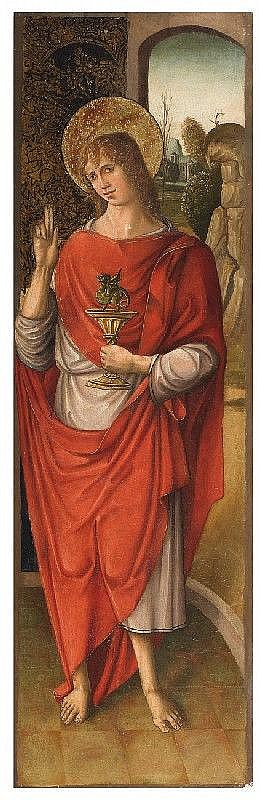 SPANISH SCHOOL, second half 15th Century, SAINT JOHN THE EVANGELIST, oil on panel, 146 x 46 cm